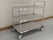 MWS 200 Series Standard Duty Utility Cart, Stainless Steel, 3-Shelf