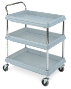 Deep Ledge Utility Cart, Microban antimicrobial polymer. Shown as a 3-shelf unit, 2-shelf unit also available.