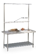 Overhead unit with top mounted Cantilever Shelf and Utility Rack mounted just above table top.