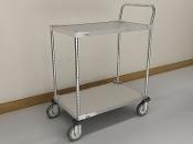 MWS 100 Series Standard Duty Utility Cart, Stainless Steel, 2-Shelf
