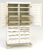 Double-Wide Supply Cabinet with Drawers, Shelves and Basket storage.