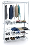 Garment Rack with Sliding Shelves