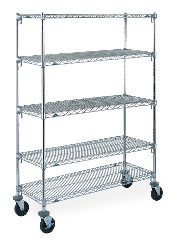 Metro,Super Adjustable Stem Caster Carts,5-tier,chrome