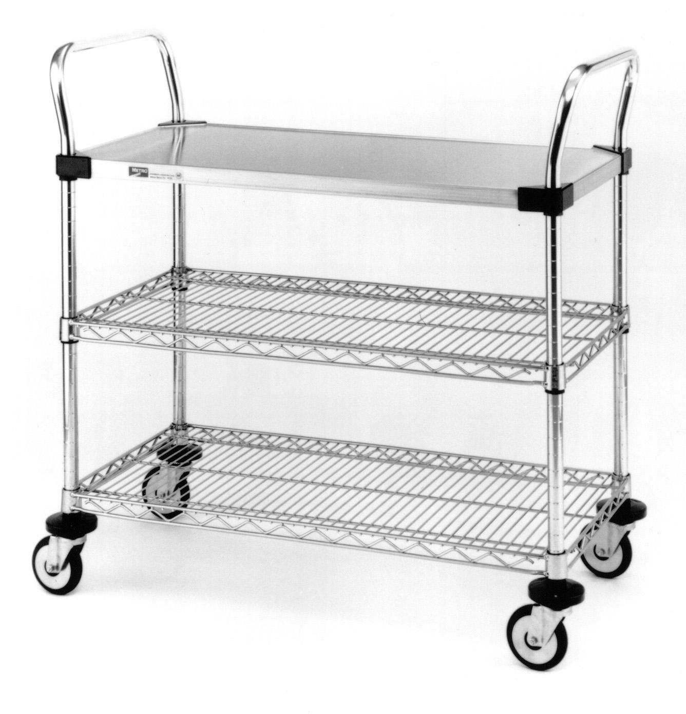 Metro MW400 Series, Utility Carts, Stainless steel shelving, Chrome