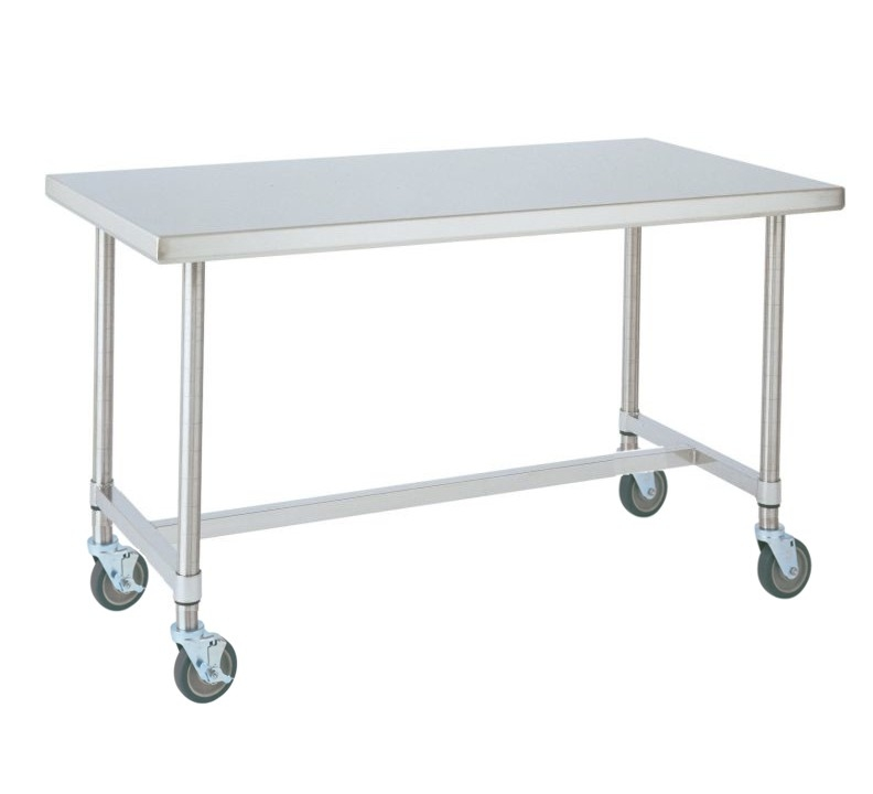 Metro Mobile Work Table Inches Wide Stainless Steel HFrame - Stainless steel work table with casters